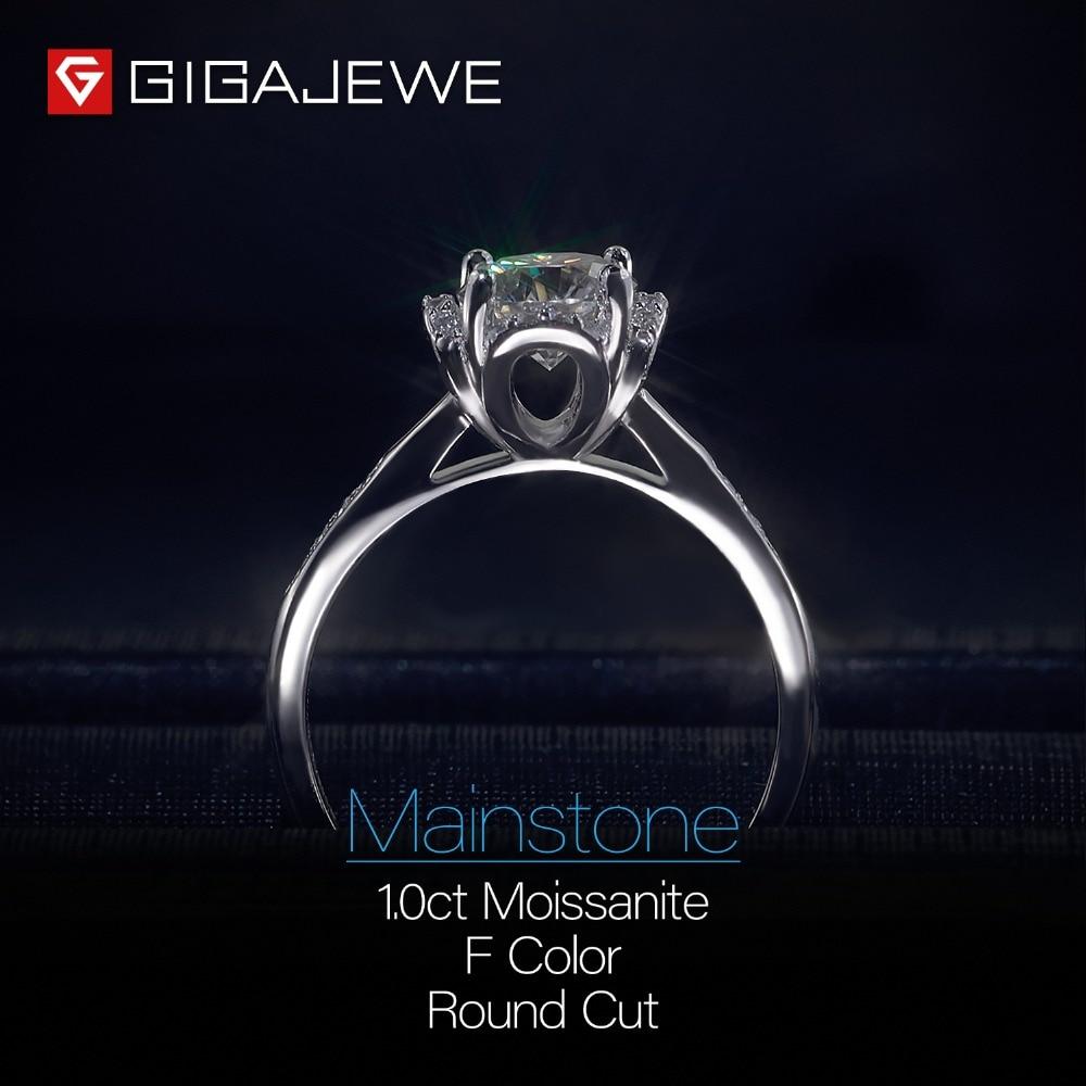 GIGAJEWE Moissanite pierścień 1.2ct VVS1 okrągły Cut F kolor Lab diament biżuteria ze srebra próby 925 symbol miłości kobieta dziewczyna zaloty prezent w Pierścionki od Biżuteria i akcesoria na  Grupa 3