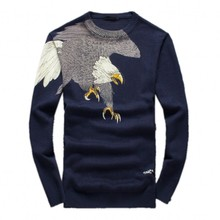 2016 Men's new arrival fashion eagle printed keep warm high quality 95% woolen sweater,navy blue,M,L.XL.XXL.