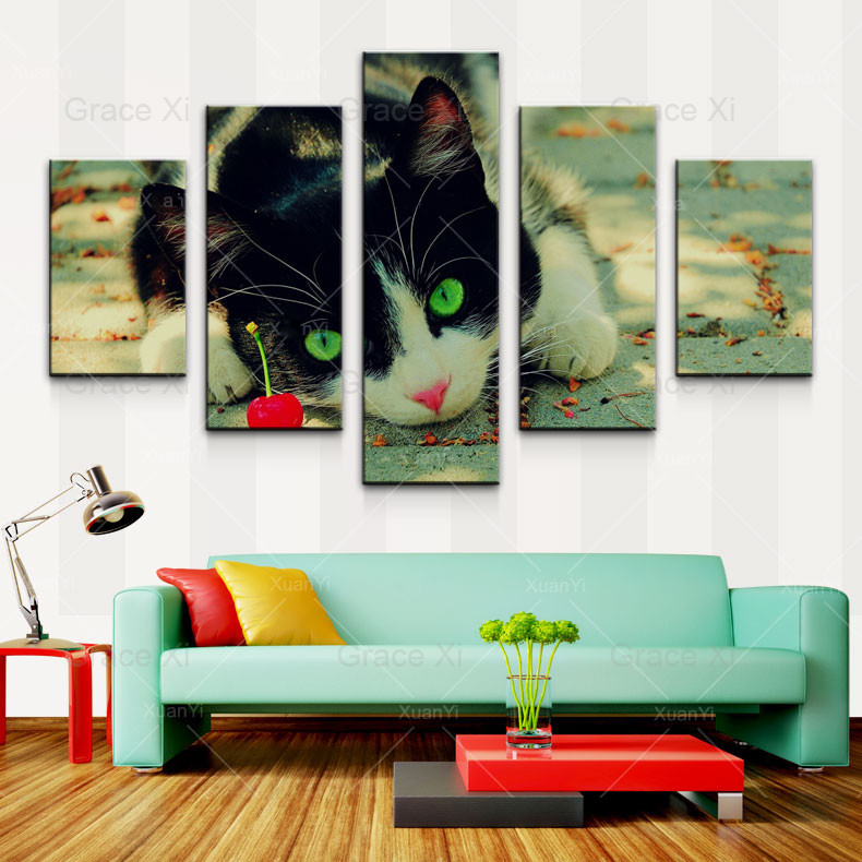 5 panel Modern prints Kitty gato animal pintura cuadros de pared ...