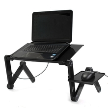 Multi-function Lapdesk New Laptop Desk Table Stand Bed Tray Portable Laptop Stand Aluminium Holder with Mouse Pad USB Cooler