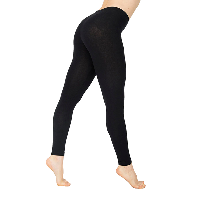 Casual Cotton Full Length Leggings For Women Knitted Pants Stretchy Solid Color Mid Waist Legging