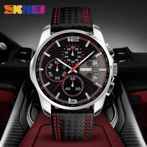 Image 4 - SKMEI hommes montre à Quartz montres de mode bracelet en cuir 3Bar étanche marque de luxe montres horloge Relogio Masculino 9106