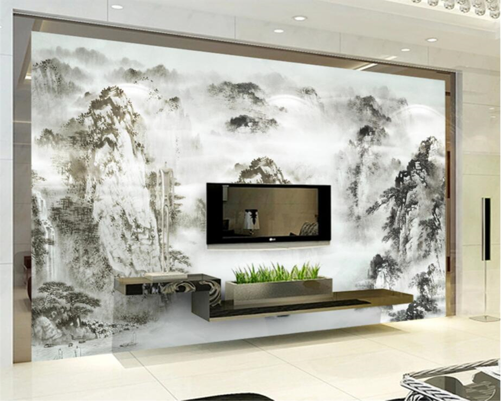 popular hand painted chinese wallpaper buy cheap hand painted beibehang custom wallpaper home decorative mural chinese style hand painted ink painting living room bedroom study