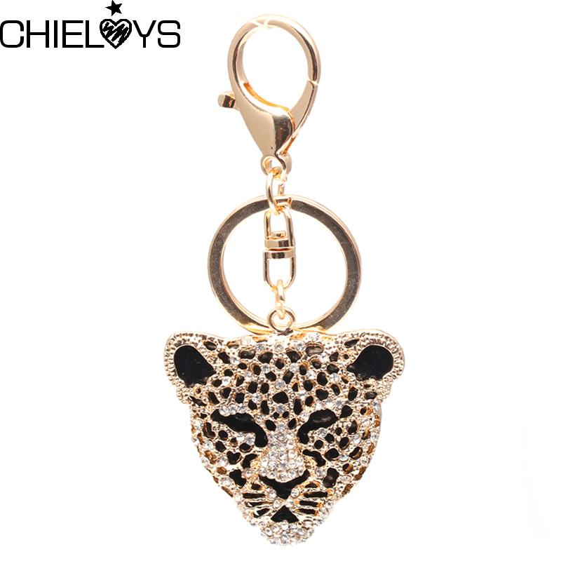 CHIELOYS Leopard Keychain Silver Key Chains Metal Crystal Key Chain Keyring Charm Bag  Pendant Gift Wholesale Price KC026