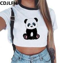 CDJLFH Harajuku летний женский сексуальный топ с принтом панды, футболка для женщин, Causl футболка, белая укороченная футболка с коротким рукавом