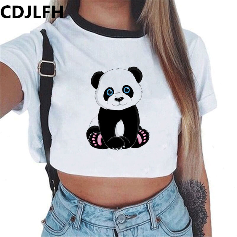 CDJLFH Harajuku Summer Ladies Sexy Panda Print Top Tee For Women T-shirt Causl T Shirt White Short Sleeve Crop Tops Tshirt