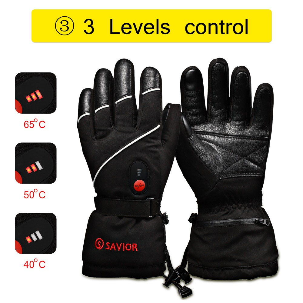 SAVIOR S-15 winter Electric Heating Gloves Winter Skiing,fishing,low temperature leather gloves men women