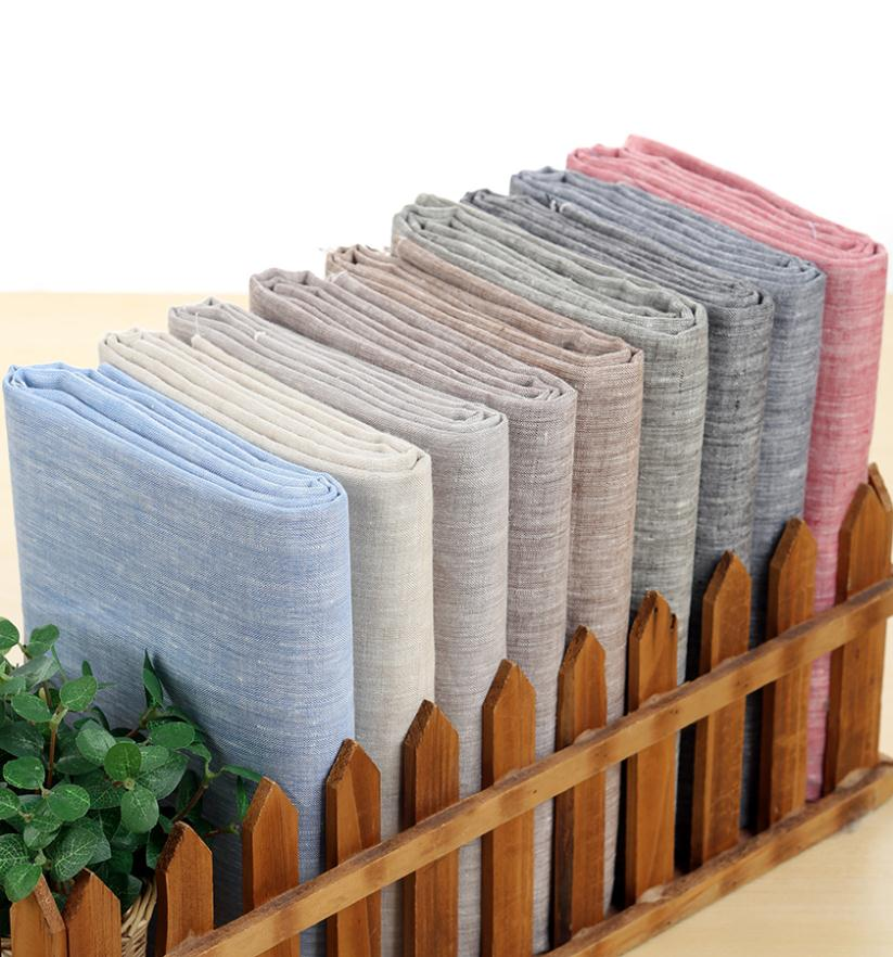 2018 DIY Summer Style Red Blue Gray Brown Natural Hemp Yarn Dyed 100% Pure Linen Patchwork Fabric For Sewing (1 meter) 50%OFF