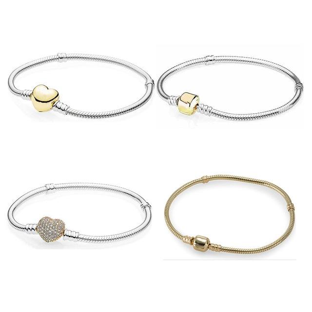 fb13ff242 Gold Color Pave Love Heart Moment Barrel Clasp Bracelet Bangle Fit Pandora  Snake Bracelet 925 Sterling Silver Bead Charm Jewelry-in Chain & Link  Bracelets ...