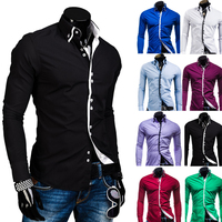 Men Shirt Luxury Brand 2017 Male Long Sleeve Shirts Casual Solid Multi Button Hit Color Slim