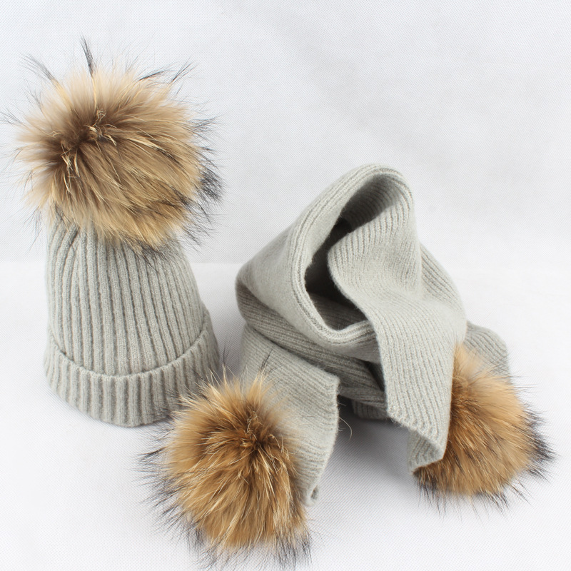 Kids Winter Casual Raccoon Pompom Beanie Cap With Knitted Scarf Set For Boys/Girls unisex 1d one direction letter hats gorros bonnets winter cap skullies beanie female hihop knitted hat toucas with pompom ball