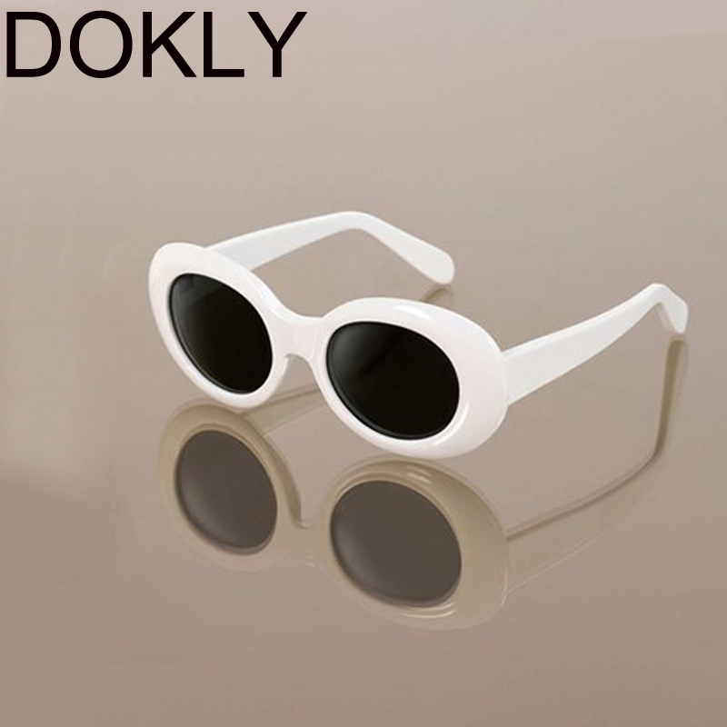 DOKLY White Cat Eye Oval Sunglasses Bella Hadid Instagram Sunglasses Bella Hadid Vintage NIRVANA Kurt Cobain Round Sunglasses