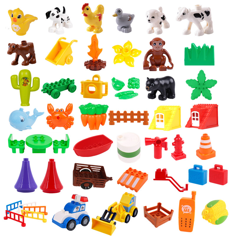 Diy Duploed Accessories Building Blocks Play Bricks Camera Animals Tree Duck Compatible With  Duploed Parts Toys For Children
