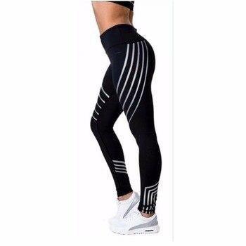 2019 Women Fitness Leggings Color Block Autumn Workout Pants Mesh Insert Sporting Leggings legins Fitness Clothing Women Elastic mesh trim color block gym leggings