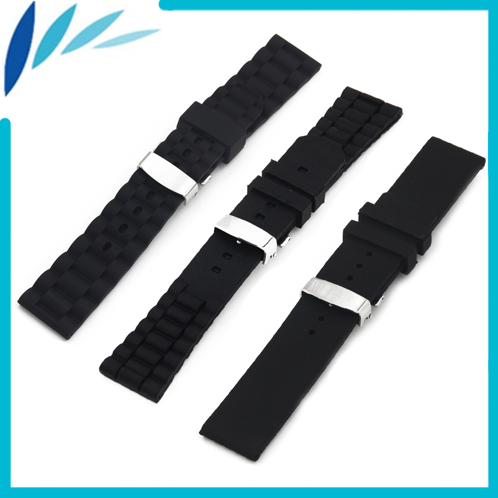 где купить Silicone Rubber Watch Band 20mm 22mm 24mm for Oris Hidden Clasp Strap Wrist Loop Belt Bracelet Black + Tool + Spring Bar по лучшей цене
