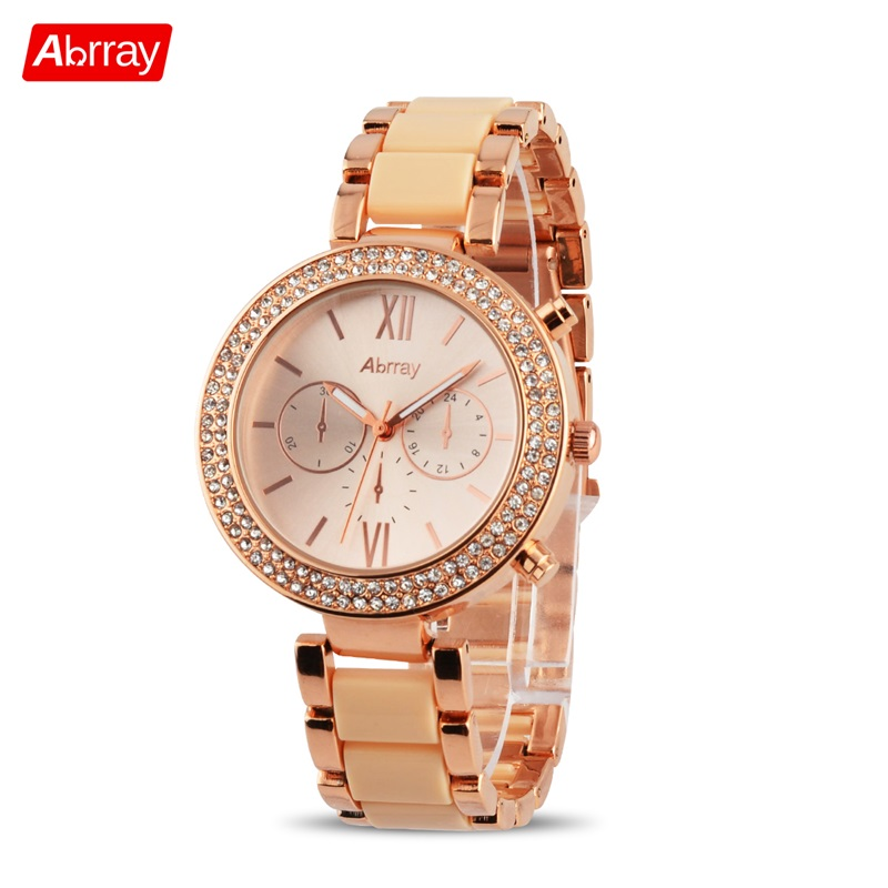 Abrray Luxury Rhinestones Women Watches Fashion Alloy Rose Gold Quartz Business Wristwatches 3ATM Waterproof Watch For Lady Gift