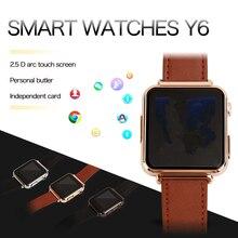 Fuster 2017 Y6 Reloj Inteligente con 2.0 M soporte de La Cámara tarjeta SIM y la Tarjeta DEL TF para Android y IOS teléfono 2.5D Pantalla Táctil Smartwatch