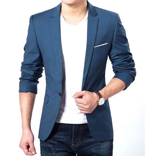 Мужская Корейской Slim Fit Мода Хлопок Блейзер Пиджак Черный Синий плюс Размер М, Чтобы XXXL Мужской Пиджаки Мужские Пальто Свадебное Платье 22