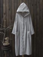 Botão Chinês do vintage Luva Longa Das Mulheres de Vestido Ocasional Vestidos De Linho de Algodão Solto Camisa Com Capuz Robe Vestidos Mujer Bolsos Sólidos
