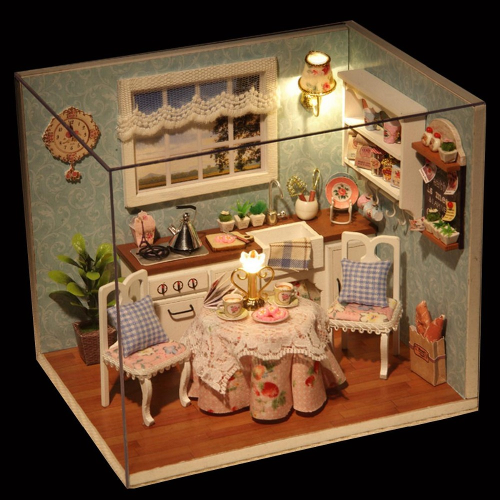 DIY Wooden Doll House Dollhouse Miniature Box Kit With Cover And LED Furnitures Handcraft Miniature Kitchen Model Toys