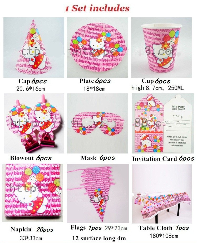 28cde456b 58pcs/set Pink Luxury Hello Kitty Party Supplies Kids Birthday Party Packs  Baby Shower Party Decorations Invitation/Table Cloth-in Event & Party from  Home ...