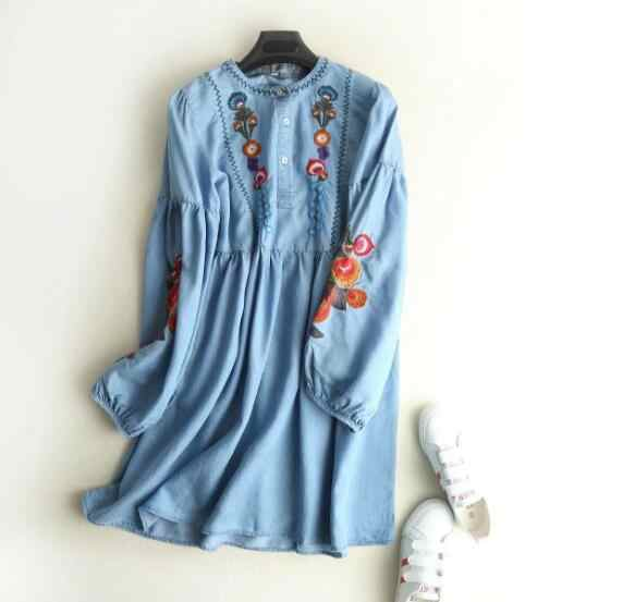 ad2f6f924f75a18 ... Повседневное Цветной с цветочной вышивкой на мягкой платье из джинсовой  ткани 2018 женщина кнопку открытия с ...