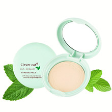 Clever cat 4 Colors Mineral Pressed Powder Mint Natural Minerals Oil control Silky Refreshing Face Powder With Puff and Mirror(China)