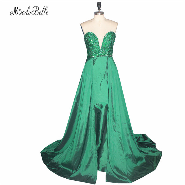 Modabelle Green Crystal Beaded Long Prom Dresses 2017 Sexy Sweetheart Party  Dresses Prom Sleeveless Satin Girls Homecoming Dress b88535d004f4