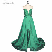 Modabelle Green Crystal Beaded Long Prom Dresses 2017 Sexy Sweetheart Party Dresses Prom Sleeveless Satin Girls