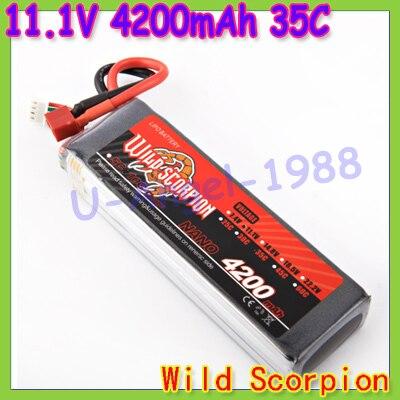 HK Free shipping wild scorpion 100 new Brand RC 11 1V 4200mAh 35C Li polymer RC