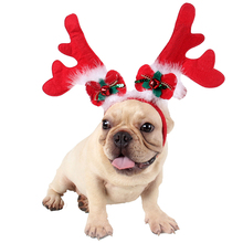 Christmas Pet Headband Fashion Cute Antler Bell Bowknot Candy Cane Decor Dog Cat Costume