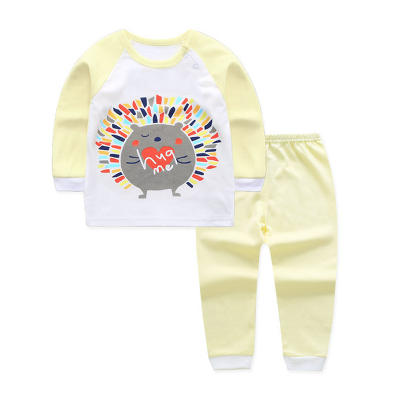 2pcs/set Spring Baby Girl Clothing Set Pajamas Cat Print Baby Sets Newborn Baby Boy Clothes Set Cotton Infantil Tops Pants Suit 2pcs children outfit clothes kids baby girl off shoulder cotton ruffled sleeve tops striped t shirt blue denim jeans sunsuit set