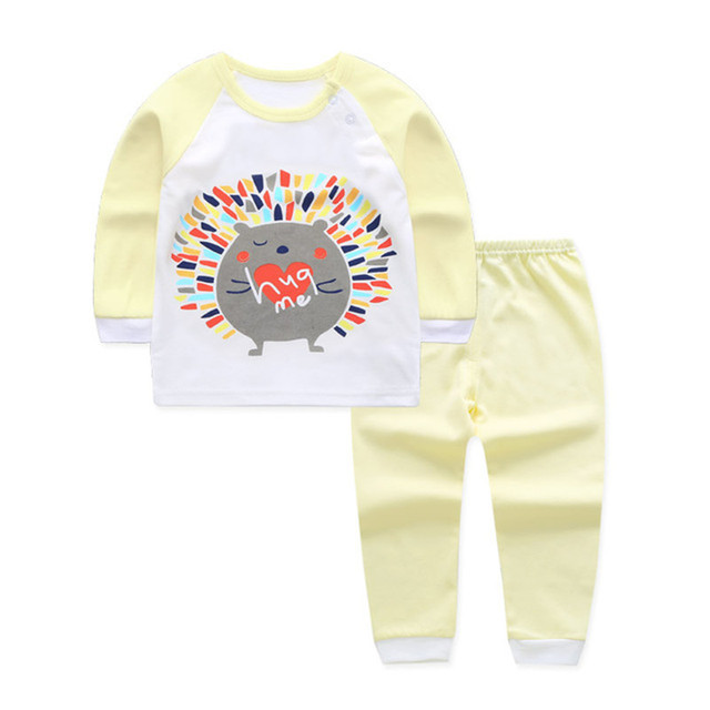 Autumn Winter Baby Girl Clothing Set Pajamas Cat Print Baby Sets Newborn Baby Boy Clothes Set Cotton Infantil Tops Pants Suit