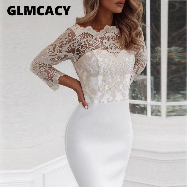 63823c81 Women Floral Lace Splicing Pep Hem Mermaid Dress Flare Long Sleeve Bodycon  Midi Elegant Evening Party Dresses