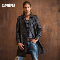 Genuine leather long Jacket thin leather clothing male sheepskin casual slim business suit leather jacket male Formale Clothing