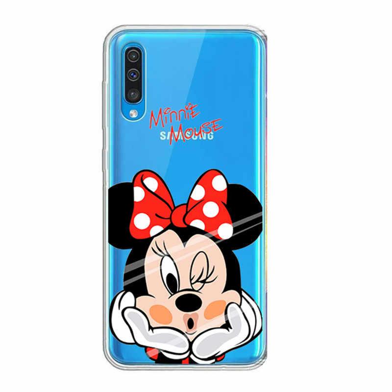 Lüks yumuşak TPU Minnie Samsung kılıfı Galaxy A7 2018 A50 A30 S10e A10 kapak Coque Samsung S10 artı Case mermer funda çapa