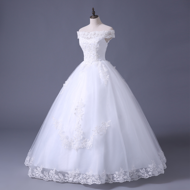 VENSANAC 2017 Free Shipping New A Line Lace Sweetheart Short Sleeve White Satin Bridal Wedding Dress Wedding Gown 30217 4