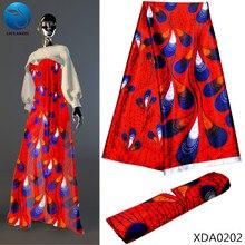 LIULANZHI 2019 Big Red silk wax fabric ankara printing fabrics for women dress african imitated XDA02