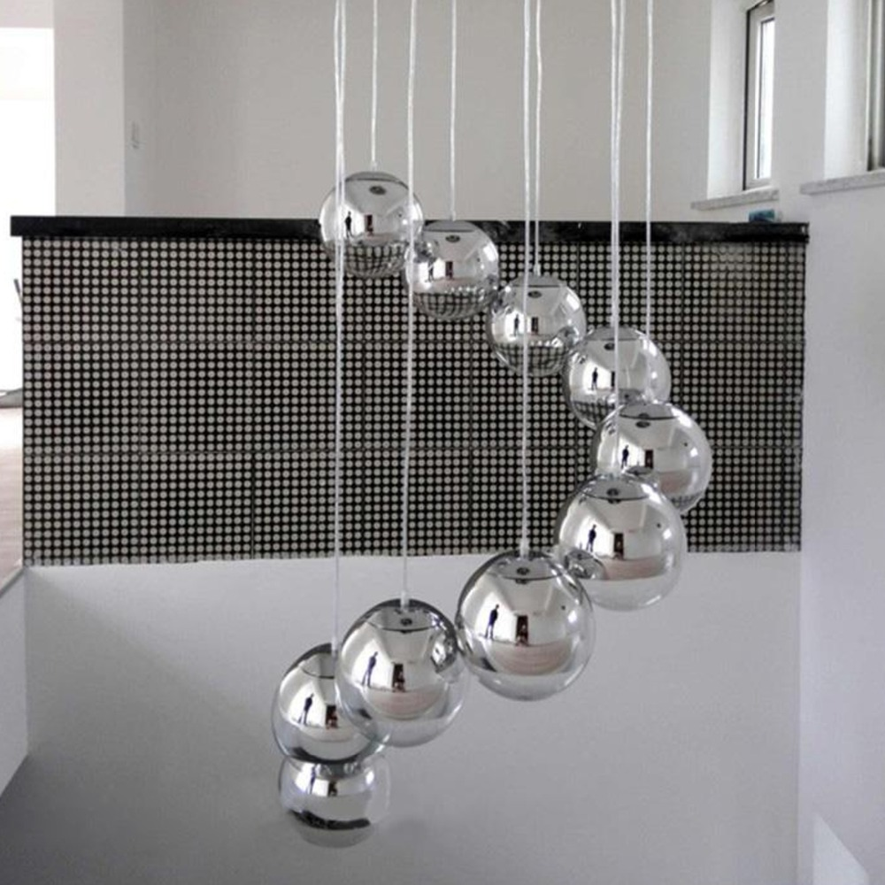 Moderne hanglampen spiegel glas bal vacum led hanglamp globe chrome lustre plafondlamp thuis slaapkamer