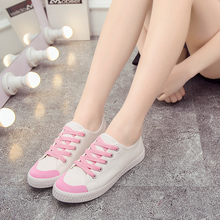 White canvas shoes Harajuku wind shoe flat women's shoes with flat lace up shoes Korean Students