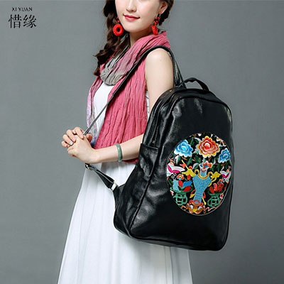 women backpack fashion lady leather Backpacks ladies girls school bags shoulder bags female bag College Students backpacks 2017 national embroidery bags women leather shoulder bag lady college crossbody bag colorful strap girls messenger bags school