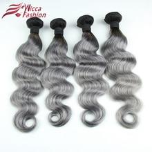 Ombre Brazilian Hair Bundles 1B/Grey Non Remy Body Wave Weaving Natural Human Hair Weave Bundles 1PC Extension Dream Beauty