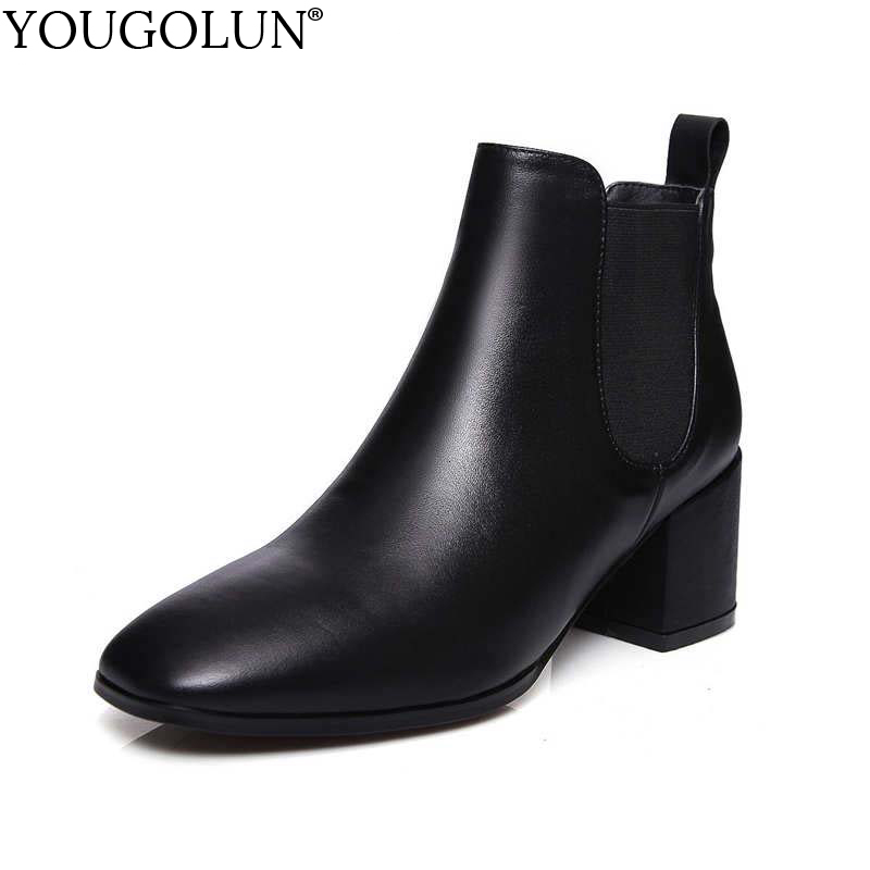 YOUGOLUN Women Ankle Boots 2017 Autumn Winter Genuine Leather Thick Heel 6.5 cm High Heels Brown Black Square toe Shoes #Y-232 nemaone women ankle boots winter genuine nubuck leather black thick heel 12cm super high heels platform round toe shoes