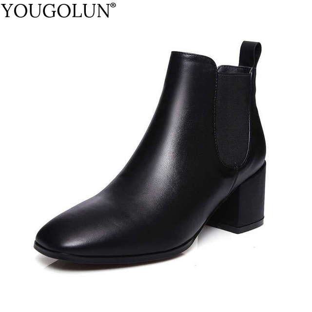 YOUGOLUN Women Ankle Boots 2017 Autumn Winter Genuine Leather Thick Heel 6.5 cm High Heels Brown Black Square toe Shoes #Y-232