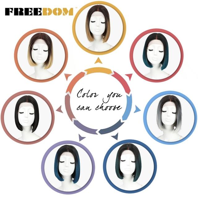 Pelucas frontales de encaje sintético FREEDOM para mujeres negras, pelucas cortas rectas de fibra sintética Ombre rubio y castaño de 10 pulgadas de alta temperatura