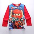 Высокое Качество Мальчиков одежда Lego ninjago Футболка Мальчик Футболки С Длинным Рукавом Весна Осень Хлопок Детская Одежда