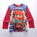 Alta Qualidade roupas Meninos Lego ninjago Shirt para o Menino T-shirts de Manga Longa Primavera Outono Roupa Dos Miúdos do Algodão