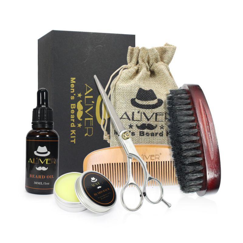 Los hombres bigote crema Kit de barba bigote peine cepillo bolsa de almacenamiento