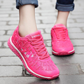 Женщины Кроссовки Повседневная Воздухопроницаемой Сеткой Светящиеся Обувь Спорт Плоским Обувь Для Ходьбы Женские Тренеры Красный Zapatillas Deportivas