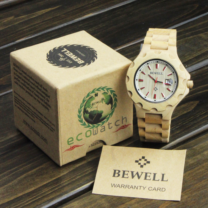 BEWELL  Wooden Watches for Mens Top Brand Luxury display Male Clock Wood Quartz Watch for Men relogio masculino christmas gifts bewell wood watch men sport watch display date mens watches top brand luxury horloges mannen with paper box 109d